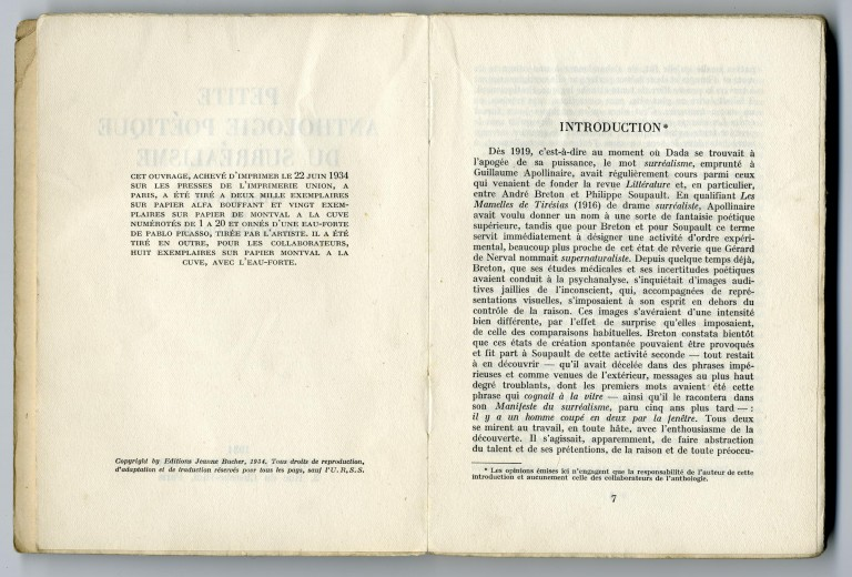 1934 — Petite anthologie poétique du Surréalisme — <br/>© Jeanne Bucher Jaeger